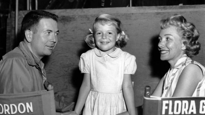 Bert I. Gordon, daughter Susan and wife Flora on the set of Earth vs. the Spider in 1958.