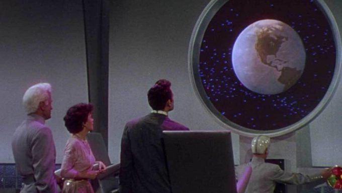 Jeff Morrow, Faith Domergue, Rex Reason and Lance Fuller watching Earth from afar.