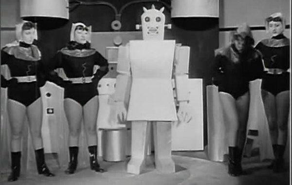 The robot Stelikami and the alien amazon women.